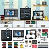 Werkzeuge für Drucken 3D Lizenzfreies Stockbild