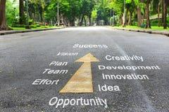 Werkzeuge für Erfolgswörter auf der Straße Stockbild