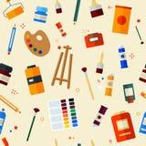 Werkzeuge für Kreativität und malendes nahtloses Muster Stockfoto