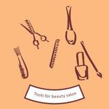 Werkzeuge für Schönheitssalon lizenzfreie abbildung