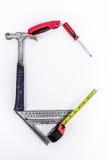 Werkzeuge in Form von C für Auftragnehmer oder Bau Stockbild