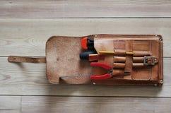 Werkzeuge Lederner Beutel Lizenzfreie Stockbilder