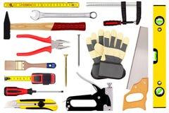 Werkzeuge lokalisiert auf Weiß Lizenzfreies Stockfoto