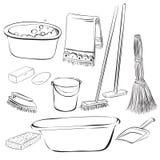 Werkzeuge mit Sachen für das Säubern und Wäsche Stockfotos
