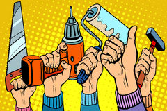 Werkzeuge sahen Bohrgerätfarbenrollenhammer Lizenzfreie Stockfotografie