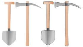 Werkzeuge - Spaten und Hacke Stockfoto