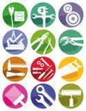 Werkzeuge und Handwerkssymbole Stockfotografie