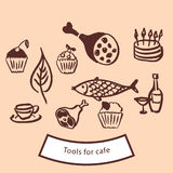 Werkzeuge und Ikonen für Café stock abbildung