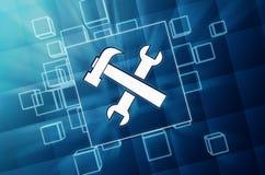 Werkzeuge unterzeichnen herein blaue Glasblöcke Stockfotos