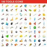 100 Werkzeugikonen eingestellt, isometrische Art 3d Lizenzfreie Stockfotografie