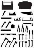 Werkzeugikonen-Vektorillustration des schwarzen Schattenbildes gesetzte Lizenzfreies Stockfoto
