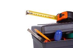 Werkzeugkasten auf Weiß Stockfoto