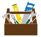 Werkzeugkasten mit Bau bearbeitet Farbvektor-Illustration Stockfotografie