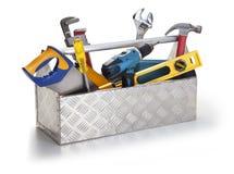 Werkzeugkasten mit Hilfsmitteln Stockfotografie