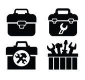 Werkzeugkasten mit Hilfsmitteln Stockfotos