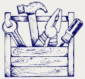 Werkzeugkasten mit Hilfsmitteln Stockbild