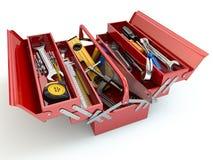 Werkzeugkasten mit Hilfsmitteln auf weißem Hintergrund Lizenzfreies Stockbild