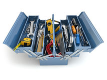 Werkzeugkasten mit Hilfsmitteln auf weißem Hintergrund Stockfotos