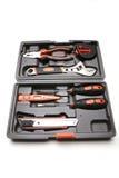 Werkzeugkasten mit verschiedenen Hilfsmitteln Stockbild