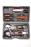Werkzeugkasten mit verschiedenen Hilfsmitteln Lizenzfreie Stockbilder