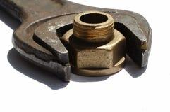 Werkzeugkasten und Schraubemutter Stockbild