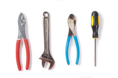 Werkzeugsatz lokalisiert auf Weiß Lizenzfreie Stockfotografie
