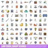 100 Werkzeugshopikonen eingestellt, Karikaturart Lizenzfreie Stockfotografie