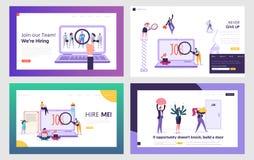 Werkzoekenden die Geplaatste het Landingspaginamalplaatjes zoeken van de het Werkwebsite Mensen die Roeping in Internet huren, di royalty-vrije illustratie