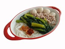 Wermiszel z wieprzowin piłkami, gotującą się minced Choy wieprzowiny, wieprzowiną i warzywem polewką i Zdjęcie Stock