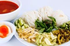 Wermiszelu rozwiązanie i rybiego curry'ego kokosowy mleko z warzywem Zdjęcie Royalty Free