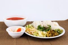 Wermiszelu rozwiązanie i rybiego curry'ego kokosowy mleko z warzywem Obraz Stock