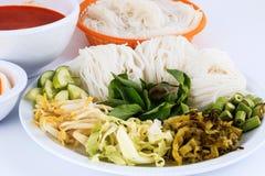 Wermiszelu rozwiązanie i rybiego curry'ego kokosowy mleko z warzywem Obrazy Royalty Free