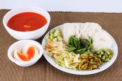 Wermiszelu rozwiązanie i rybiego curry'ego kokosowy mleko z warzywem Zdjęcia Royalty Free