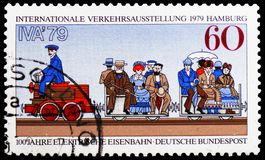 Werner von Siemens Electric Railway, 1879, International Traffic Exhibition, Hamburg serie, circa 1979. MOSCOW, RUSSIA - FEBRUARY 20, 2019: A stamp printed in stock images