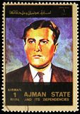 Wernher von Braun, Space successes of the USA, large format serie, circa 1973. MOSCOW, RUSSIA - MAY 25, 2019: Postage stamp printed in Ajman shows Wernher von stock photo
