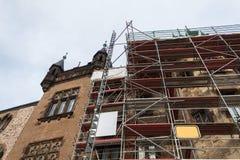 Wernigerode german castle maintenance scaffold high danger. Winter royalty free stock photos
