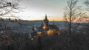 Wernigerode, Germany - February 24, 2018: Castle Wernigerode in the Harz mountains above the town of Wernigerode in stock video footage