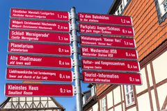 Wernigerode germany touristic signs. Wernigerode germany red touristic signs Royalty Free Stock Photography