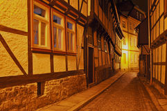 Wernigerode at Night, Germany. Medieval town in Germany, called Wernigerode. Wernigerode is located in the secondary mountain area Harz. The pictures are showing Stock Photos