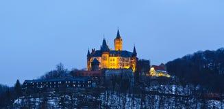 Wernigerode Schloss nachts lizenzfreies stockfoto
