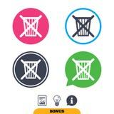 Werp niet in afval Recycleer het pictogram van het bakteken Stock Afbeeldingen