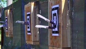 Werpend messen bij het doel van een openluchtafstand, de concurrentie voor het werpen van messen, die messen, scherpe messen vlie stock video