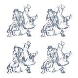 Werpt het hand Getrokken Judo Geïsoleerde Vector Royalty-vrije Stock Afbeeldingen