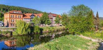 Werra-Fluss und alte Häuser in Hann Munden Lizenzfreies Stockbild