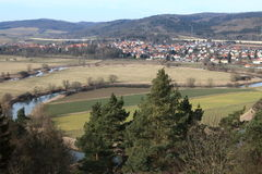 The Werra loops at Herleshausen Royalty Free Stock Photo
