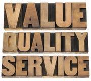 Wert, Qualität, Service stockfotografie