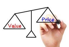 Wert- und Preisbalance stockbild