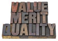 Wert, Verdienst, Qualität Lizenzfreie Stockbilder