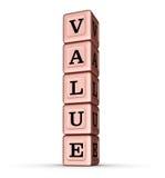 Wert-Wort-Zeichen Vertikaler Stapel von Rose Gold Metallic Toy Blocks Lizenzfreies Stockbild