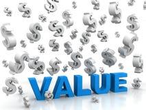 Werte, die Dollar hinuntergehen Stockfotografie